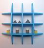 AYMH Blue MDF Globe-Shaped Wall Shelf