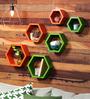 AYMH Green & Orange MDF Hexagon Wall Shelf - Set of 6