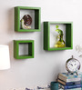 AYMH Green MDF Square Wall Shelf - Set of 3