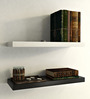 AYMH Black & White MDF Floating Wall Shelf - Set of 2