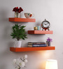 AYMH Orange MDF Multi-Sized Wall Shelf - Set of 3