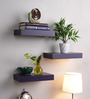 Decornation Purple MDF Floating Wall Shelf - Set of 3