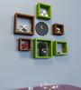 AYMH Brown & Green MDF Square Shelf - Set of 6