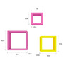 AYMH Pink & Yellow MDF Square Shelf - Set of 6