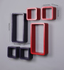 AYMH Red & Purple MDF Cube & Rectangle Designer Wall Shelves - Set of 6
