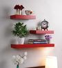 Decornation Red MDF Multi-Sized Wall Shelf - Set of 3