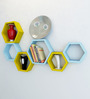 AYMH Blue & Yellow MDF Hexagon Wall Shelf - Set of 6