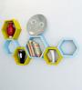 Decornation Blue & Yellow MDF Hexagon Wall Shelf - Set of 6