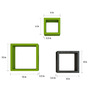 Decornation Black & Green MDF Square Shelf - Set of 6