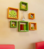 AYMH Green & Orange MDF Square Shelf - Set of 6