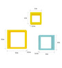 AYMH Blue & Yellow MDF Square Shelf - Set of 6