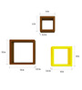 AYMH Brown & Yellow MDF Square Shelf - Set of 6