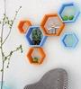AYMH Orange & Blue MDF Hexagon Wall Shelf - Set of 6