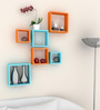AYMH Orange & Blue MDF Nesting Square Easy to Place Wall Shelf - Set of 6