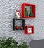 AYMH Red & Black MDF Floating Wall Shelf - Set of 3