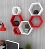 AYMH Red & White MDF Beehive Shape Wall Shelf - Set of 6