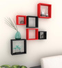 AYMH Red & Black MDF Nesting Square Durable Wall Shelf - Set of 6