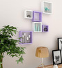 AYMH Purple & White MDF Nesting Square Durable Wall Shelf - Set of 6