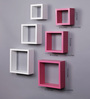 AYMH White & Pink MDF Nesting Square Wall Shelves - Set of 6