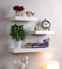 AYMH White MDF Wall Flat Floating Shelf - Set of 3