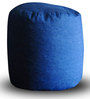 Denim Round Ottoman L size in Blue Colour with Beans by Style Homez