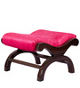 Designer Foot Stool cum Ottoman with Pink Upholstery & Brown Polish By Karigar
