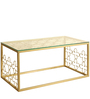 Designer Metal Coffee Table with Tempered Glass In Gold by Artistic Indians