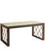 Metal Coffee Table with Tempered Glass in Walnut & Gold by Artistic Indians