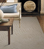 Designs View Beige Wool & Viscose 96 x 66 Inch Hand Tufted Mix Waves Design in High Low Texture Carpet