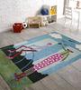 Designs View Cute Blue Wool Rectangular Kid's Carpet