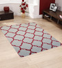Designs View Ivory & Red Wool & Viscose 48 x 72 Inch Hand Tufted Chain Design Carpet
