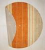 Designs View Orange & Beige Wool 96 x 96 Inch Hand Knotted Modern Stripe Design Round Area Rug