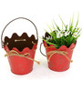 Deziworkz Red Metal hanging rope design bucket /Planter (Set of 2)