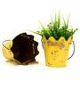 Deziworkz Yellow Metal hanging rope design bucket /Planter (Set of 2)
