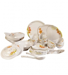 Diamond Crockery Floral Melamine Dinner Set Of 40 Pcs