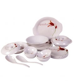 Diamond Crockery Melamine Dinner Set of 40 Pcs