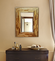 Divine Decor Brown Teak Wood Vivanta Mirror