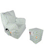 Digital Printed Arm Chair (XXL) & Puffy Combo (With Beans) by Orka