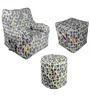 Digital Printed Arm Chair (XXXL) & Puffy Combo (With Beans) by Orka