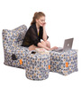 Digital Printed Arm Chair (XXXL) & Puffy Combo (Without Beans) by Orka