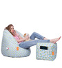Digital Printed Big Boss Chair (XXXL) & Puffy Combo (With Beans) by Orka