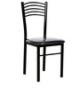 Dining Chair with Leatherette Seat in Black Colour by Parin (Set of 4)