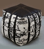 Discovery Hand-Made Pouffe in White & Black Color by The Rug Republic