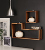 Valencia Contemporary Wall Shelves Set of 2 in Brown by CasaCraft