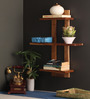 Victor Contemporary Wall Shelf in Brown by CasaCraft
