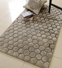 Divine Silver Polyester 60 x 35 Inch Concave Area Rug