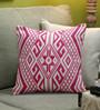 Diwa Home Pink Cotton 16 x 16 Inch Ikat Cushion Cover