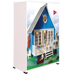 Doll House Kids Wardrobe in Multi Colour by BigSmile Furniture