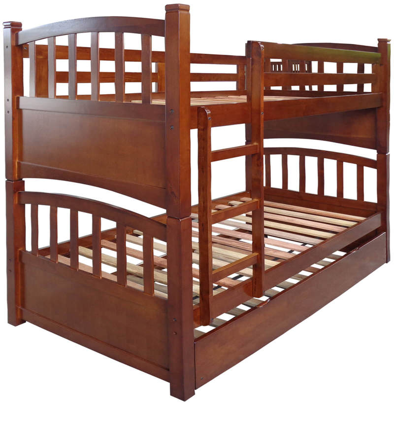 Buy Mclamar Bunk Bed With Pull Out In Walnut Finish By