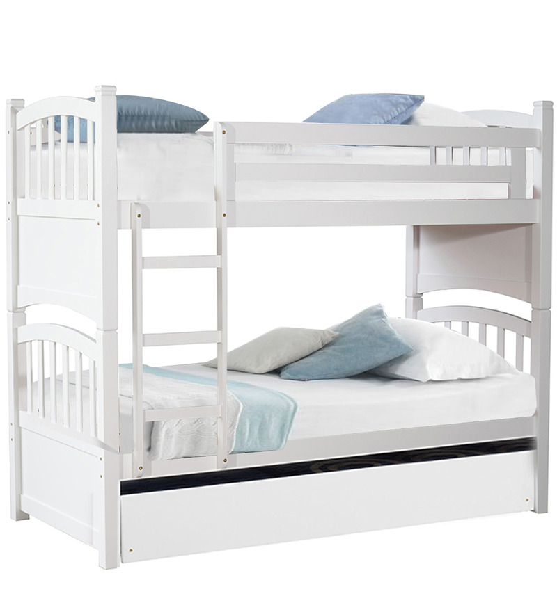Buy mclamar bunk bed with pull out in white finish by for Double decker toddler beds